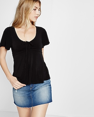 Express Womens Solid Tie-Front Tee