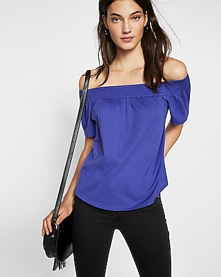 Express Womens Petite Smocked Off The Shoulder Tee Blue S Petite