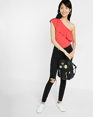 Express Womens Ruffle One Shoulder Top