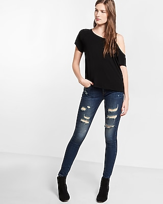 Express Womens Express One Eleven Cut-Out One Shoulder Tee Black Small