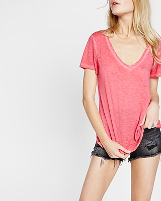 Express Womens Garment Dyed Slub V-Neck Skimming Tee