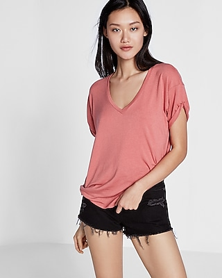 Express Womens Express Womens Express One Eleven Rolled Sleeve Wedge Tee Pink Xx Small