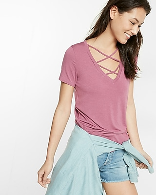 Express Womens Strappy Front V-Neck Tee Pink XX Small
