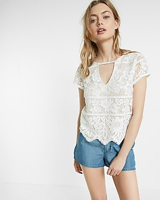 Express Womens Lace Cut-Out Short Sleeve Tee White X Small