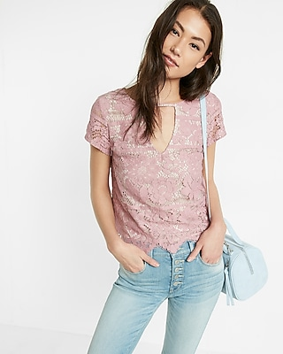 Express Womens Lace Cut-Out Short Sleeve Tee Pink XX Small