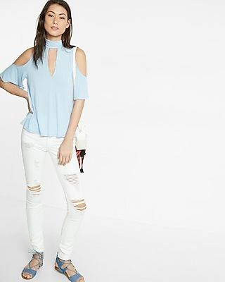 Express Womens Keyhole Cold Shoulder Mock Neck Tee Blue XX Small