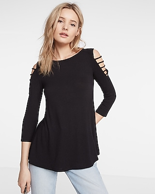 Express Womens Strappy Shoulder Crew Neck Tee Black XX Small