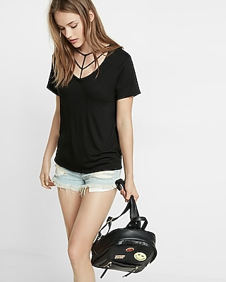 Express Womens Express One Eleven Strappy V-Neck Tee Black XX Small