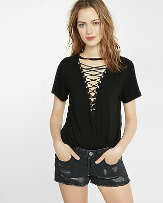 Express Womens Express One Eleven Lace-Up Front Tee Black X Small