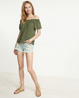 Express Womens Lace Trim Off The Shoulder Tee