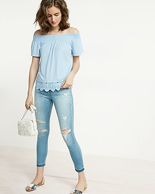 Express Womens Lace Trim Off The Shoulder Tee Blue XX Small