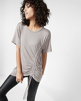 Express Womens Side Ruched Crew Neck Tee