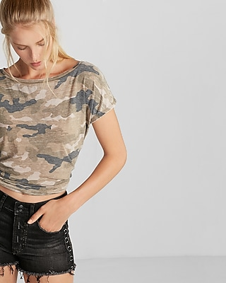 Express Womens Express One Eleven Burnout Camo Relaxed Tee