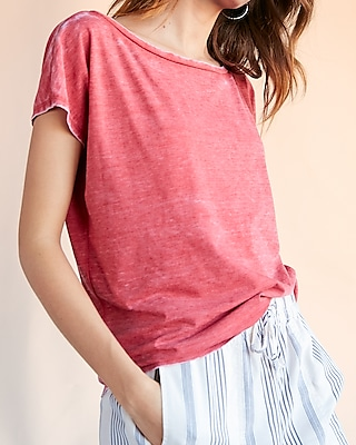 Express Womens Off The Shoulder London Tee Pink XX Small