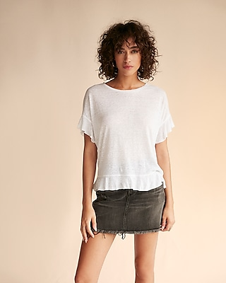 Express Womens Ruffle Sleeve Top
