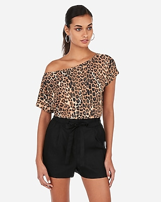 Express Womens Express Womens Express One Eleven Leopard Off The Shoulder London Tee