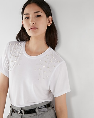 Express Womens Petite Pearl Embellished Girlfriend Tee