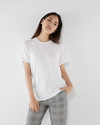 Express Womens Pearl Embellished Girlfriend Tee
