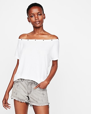 Express Womens Express Womens Express One Eleven Off The Shoulder Grommet London Tee