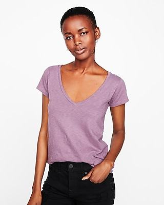 Express Womens Express One Eleven Extra Slim Fit Slub V-Neck Tee Purple Xx Small