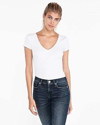 Express Womens Express One Eleven Modern Rib Double V Fitted Tee