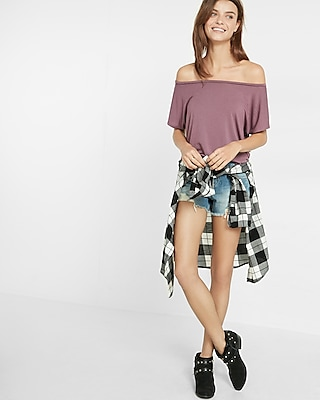 Express Womens Express Womens Express One Eleven Off-The-Shoulder Tee Neutral Xx Small