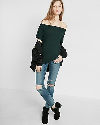 Express Womens Express One Eleven Off-The-Shoulder Tee Green XX Small
