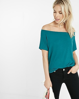 Express Womens Express One Eleven Off-The-Shoulder Tee Blue XX Small