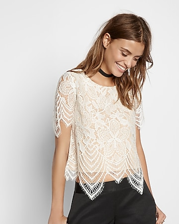 all over lace tee