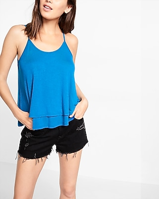 Express Womens Strappy Back Trapeze Cami Blue Large