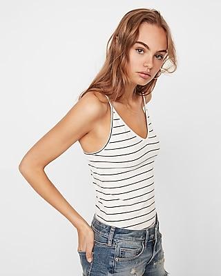 Express Womens Stripe V-Neck Cami