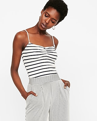 Express Womens Striped Ribbed Ruched Front Tank