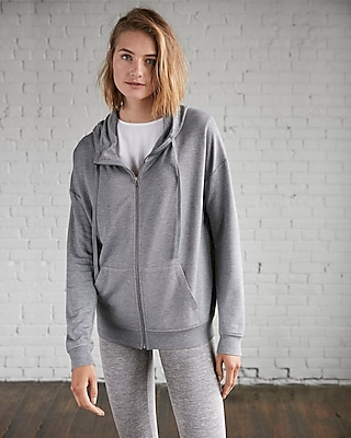 Express Womens Express One Eleven Heathered Funnel Neck Zip Hoodie