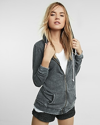 Express Womens Express One Eleven Zip Front Burnout Hoodie