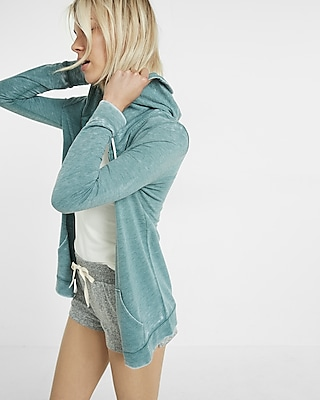 Express Womens Express One Eleven Zip Front Burnout Hoodie Blue Small