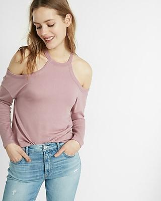Express Womens Express Womens Express One Eleven Cold Shoulder Sweatshirt Pink Xx Small