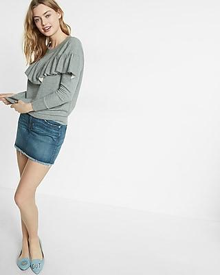 Express Womens Express One Eleven Ruffle Sweatshirt Gray XX Small