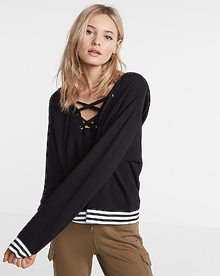 Express Womens Express One Eleven Lace-Up Hooded Sweatshirt