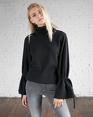 Express Womens Funnel Neck Tie Sleeve Sweatshirt