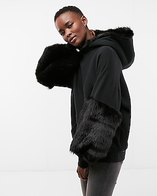Express Womens Faux Fur Trim Hooded Sweatshirt