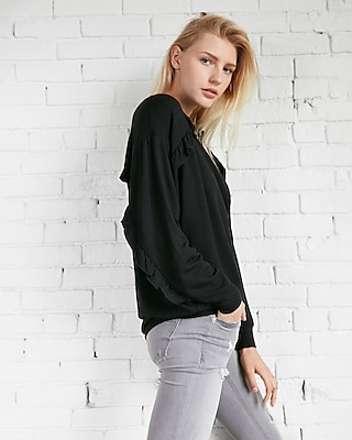 Express Womens Oversized Ruffle Sweatshirt
