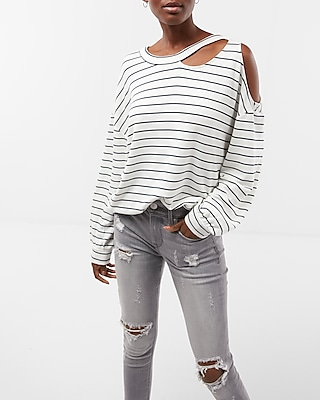 Express Womens Striped Slash Neck Cold Shoulder Sweatshirt