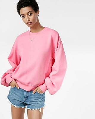 Pleated Sleeve Crew Neck Sweatshirt