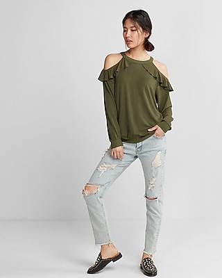 Express Womens Cold Shoulder Ruffle Sweatshirt