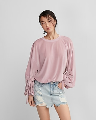 Express Womens Balloon Tie-Sleeve Velvet Sweatshirt