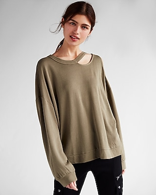 Express Womens Express Womens Express One Eleven Slash Neck Cold Shoulder Sweatshirt