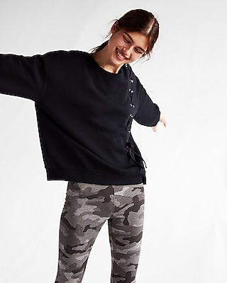 Express Womens Express One Eleven Asymmetrical Lace-Up Sweatshirt Black Women's S Black S 13874711