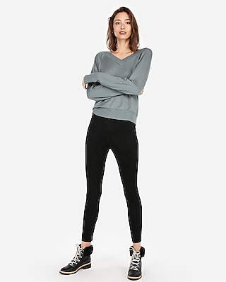 Express Womens Express One Eleven Double V Sweatshirt Neutral Women's L Neutral L