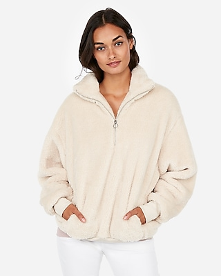 Express Womens Express One Eleven Fleece Quarter-Zip Sweatshirt Neutral Women's Xl Neutral Xl