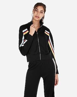 Express Womens Express One Eleven Varsity Stripe Track Jacket